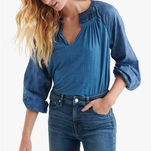 Lucky Brand Embroidered Peasant Top Small NWT NEW